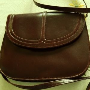 Italian Leather Maroon Purse with Shoulder Strap